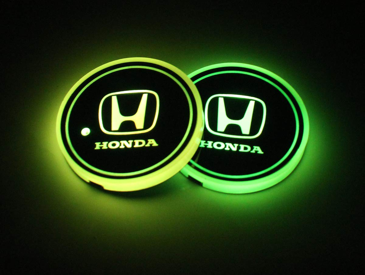 GMC LED Interior Atmosphere Lamp Decoration Light. 2pcs LED Car Logo Cup Holder Lights for GMC 7 Colors Changing USB Charging Mat Luminescent Cup Pad