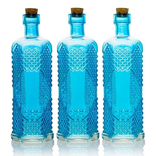 Quasimoon PaperLanternStore.com Bulk Pack (3) Aria Turquoise Vintage Glass Bottle Wedding Flower Vase