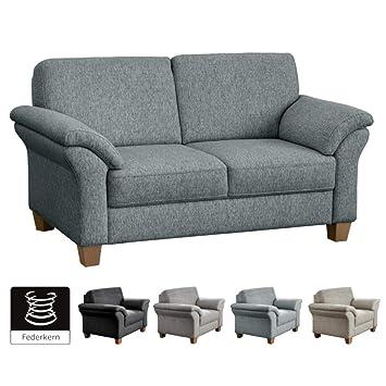 Cavadore 2 Sitzer Byrum Große Couch Mit Federkern Edle Sofa Garnitur Im Landhausstil 156 X 87 X 88 Hellgrau