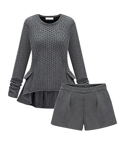 ZKOO Donna Sottile Maglioni Pullover a Maniche Lunghe Invernali Maglia Girocollo Maglie Sweater Knit Maglietta Tops + Pantaloncini