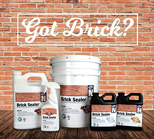 Premium BRICK SEALER Concentrate (5 Gal) - Clear Natural Finish, Penetrating Water Repellent Stops Wind Driven Rain, Moisture Damage & Stain Protection - Brick Walls, Chimneys, Patio, Pavers, Walkway