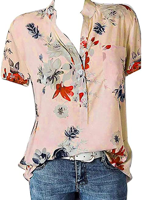 Ladies Top Pinkred floral print strappy cotton sleeveless womens blouse top.