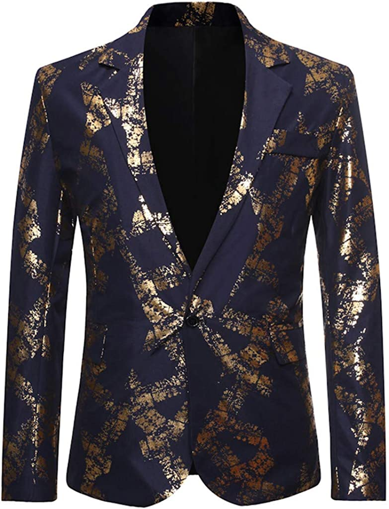 Mens Gold Hot Stamping Floral Suit Jacket Mens Shiny Stylish Dinner Tuxedo Jacket Coat Party Dress Suit Wedding Blazer Prom Carnival Dress by LILICAT