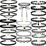 22 PCS Black Choker Necklaces Set Womens Velvet Choker Set Classic with Lace Tattoo Charm Girls Stretch Necklace (Pack of 22)