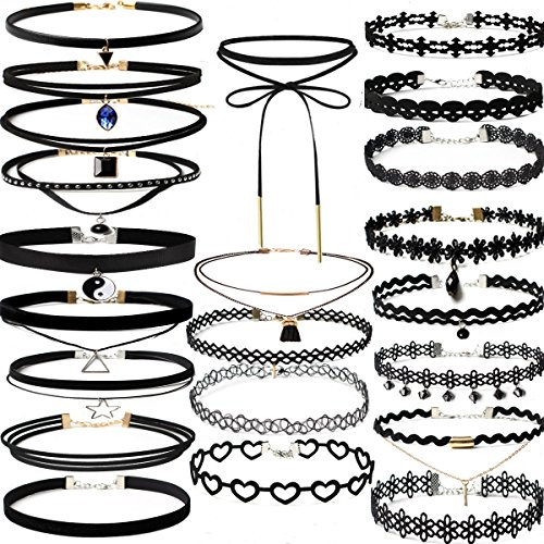 Flower Choker Necklace Set (22 PCS Black Choker Necklaces Set Womens Velvet Choker Set Classic with Lace Tattoo Charm Girls Stretch Necklace (Pack of)
