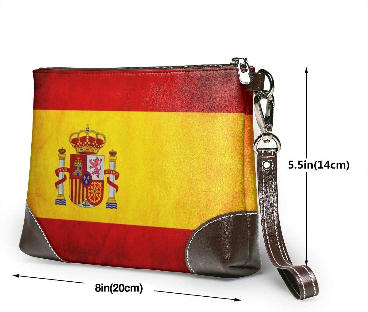 Carteras de cuero genuino para las mujeres con cremallera alrededor de la muñeca bolso largo vintage en relieve cuero vacuno capacidad hecho a mano banderas de España: Amazon.es: Equipaje
