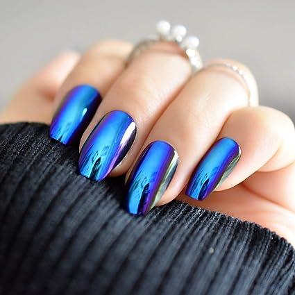Espejo de uñas en polvo con purpurina azul sexy, decoración de uñas postizas en polvo