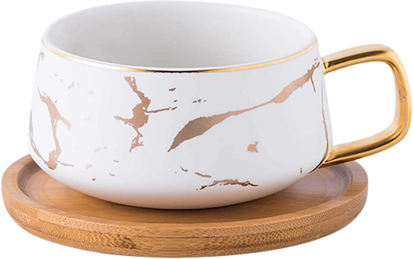 Jusalpha 10 oz Golden Hand Print Teacup Coffee Cup with Bamboo Saucer Set TCS19 (White)