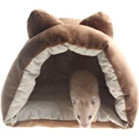 Emours Small Animal Pet Fleece Bed Warm Cage Cave Bedding Hides for Guinea Pig Hedgehog Hamsters Rats (Brown)