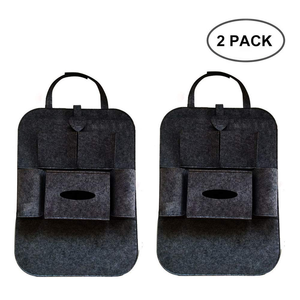 Mergood Car Backseat Organizer 2 Pack Kick Mats with Tissue Holder, Car Seat Back Protector with Organizer Storage Pocket –Universal Fit(Felt) Mergood3