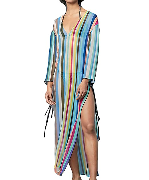 f0e09783cba Bestyou Women s Print Chiffon Swimwear Turkish Kaftans Cover up Caftan Dress  (Blue ...