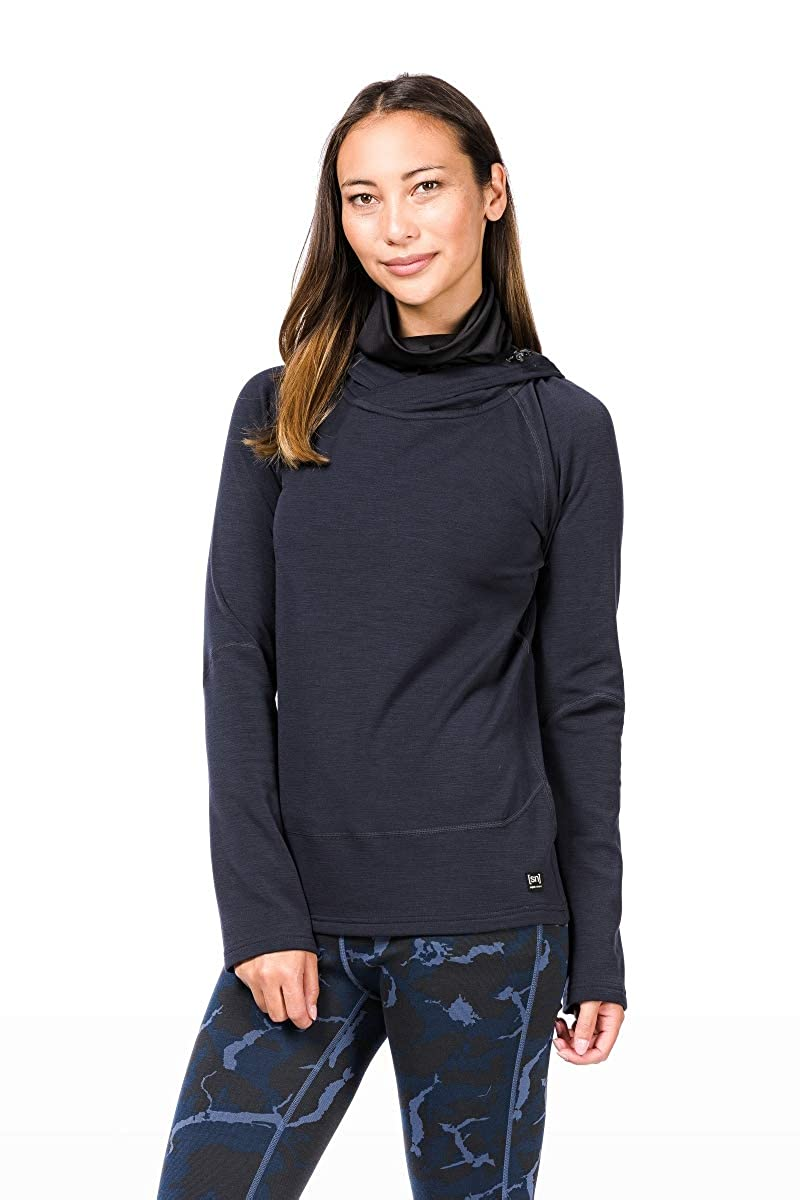 super. Natural W Mountain Merino Hoodie, Mujer, SNW011660, Blue Black/Jet Black, Small