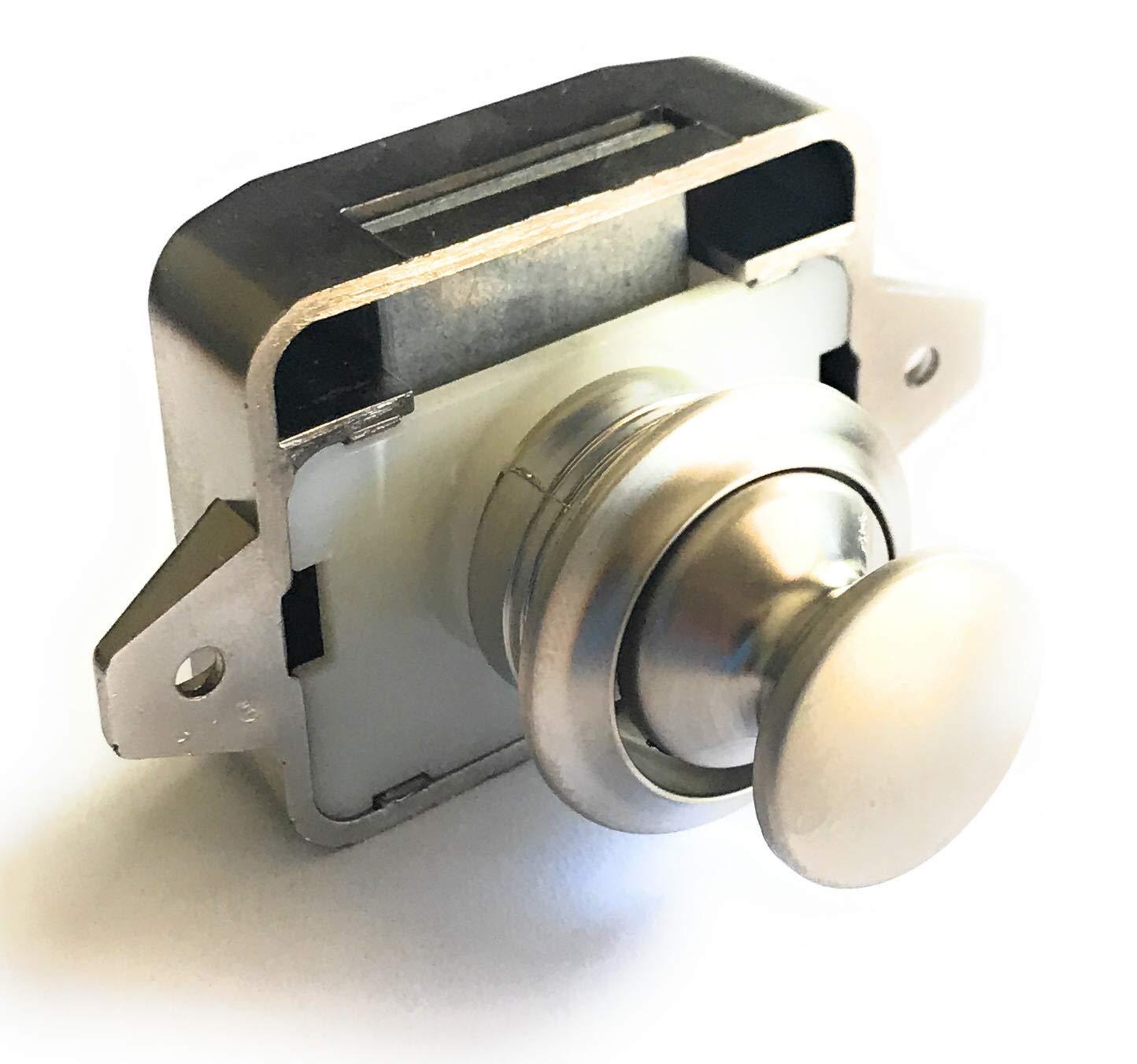AMT Pearl Nickel Key Less Push Button Cabinet Latch for Rv/Motor Home Cupboard Caravan Lock for Cupboard Push Latch Lock (5)