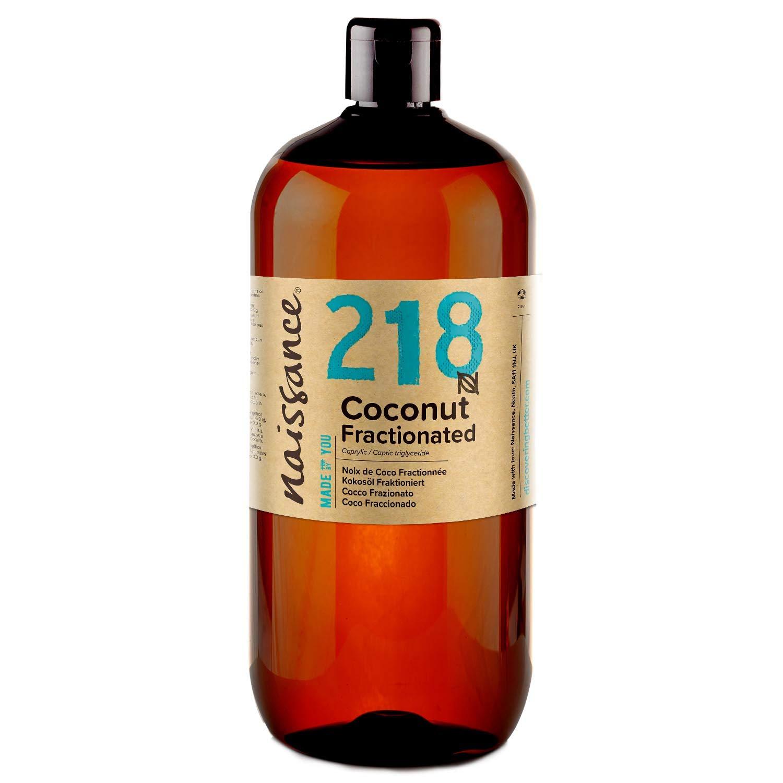 Naissance Aceite Vegetal de Coco Fraccionado n. º 218 – 1 Litro - Puro, natural, vegano, sin hexano, no OGM - Ideal para aromaterapia, masajes y recetas artesanales