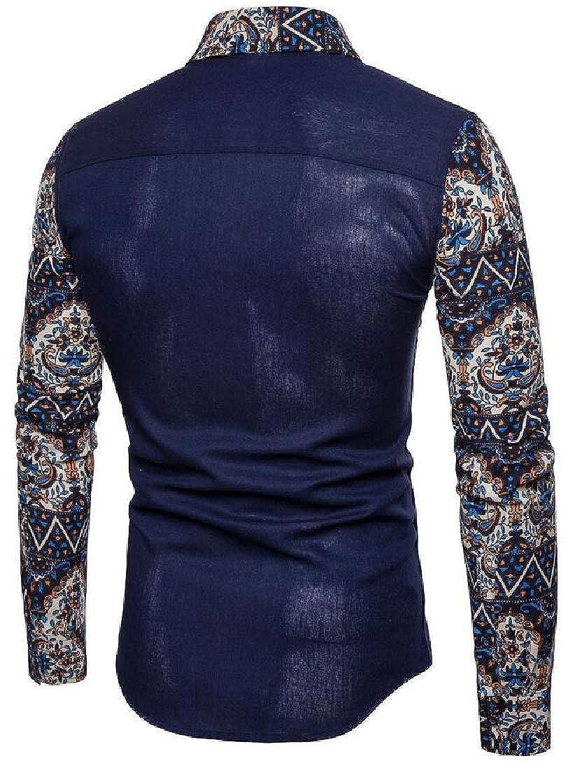 WSPLYSPJY Mens Floral Printed Slim Fit Long Sleeve Shirt Button Down Dress Shirts