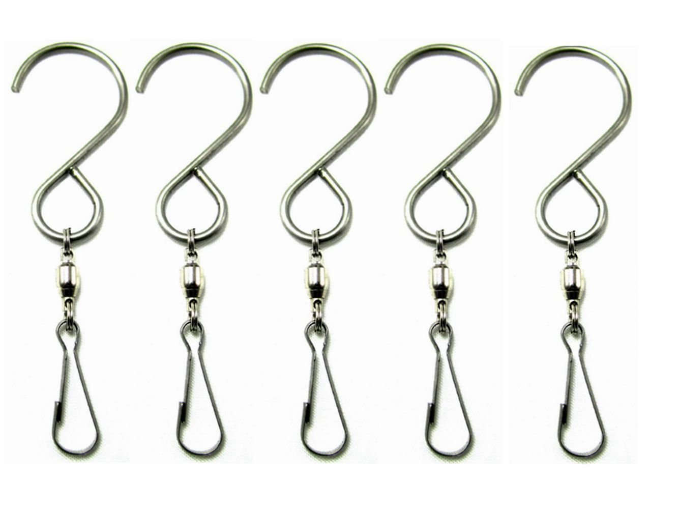 SUNREEK 8482;Smooth Spinning Swivel Hooks Clips for Hanging Wind Spinners Rotate Spiral Tail Crystal Twisters Party Supply(5 Pack) GG05