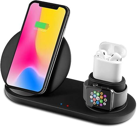 Yaature 3 in 1 Fast Wireless Charger, Qi Kabelloses Ladegerät für iPhone AirPods iWatch 321, Induktive Ladestation für iPhone 1111 Pro11 Pro