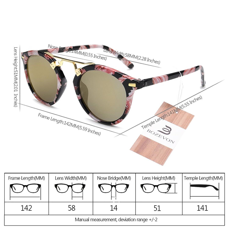 BOZEVON Adults Donne Retro Rotondi Occhiali da Sole stile vintage UV400 Occhiali da Sole,Occhiali da sole riflettenti/Nero (Cornice) -Verde (obiettivo) hCBcfgtOY