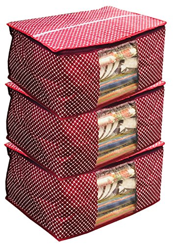 Kuber Industries 3 Piece Quilted Cotton Saree Cover Set, Maroon