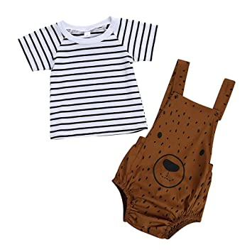 Suspenders Romper Outfits Onesies White Luonita Infant Baby Girls Boys Cartoon Print T-Shirt Tops Tee