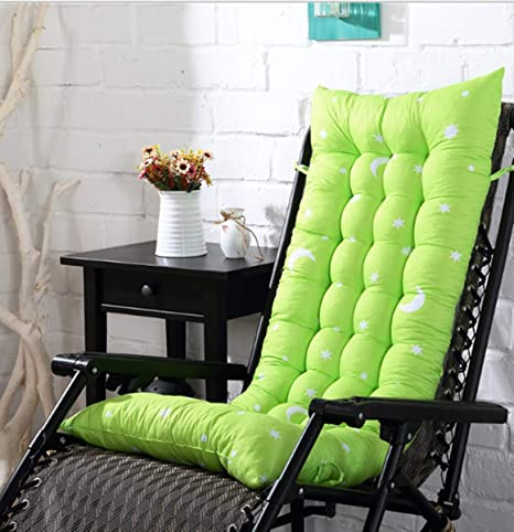 Marbeine - Cojín de Silla Larga para sillón de Relax, Tumbona de jardín o terraza, Vert et Lune