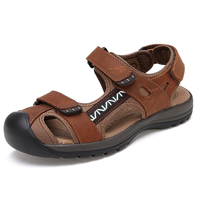 Alivin Men's Athletic Outdoor Sports Closed-Toe Sandals Hiking Water Fisherman Sandals
