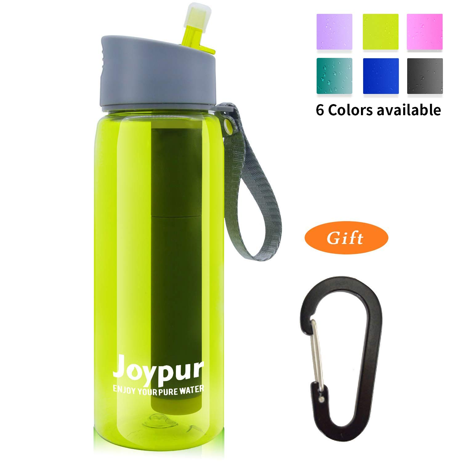 joypur Outdoor Filtered Water Bottle - Camping Water Filter with 3-Stage Integrated Water Purifier for Travel Hiking Backpacking Yellow by joypur