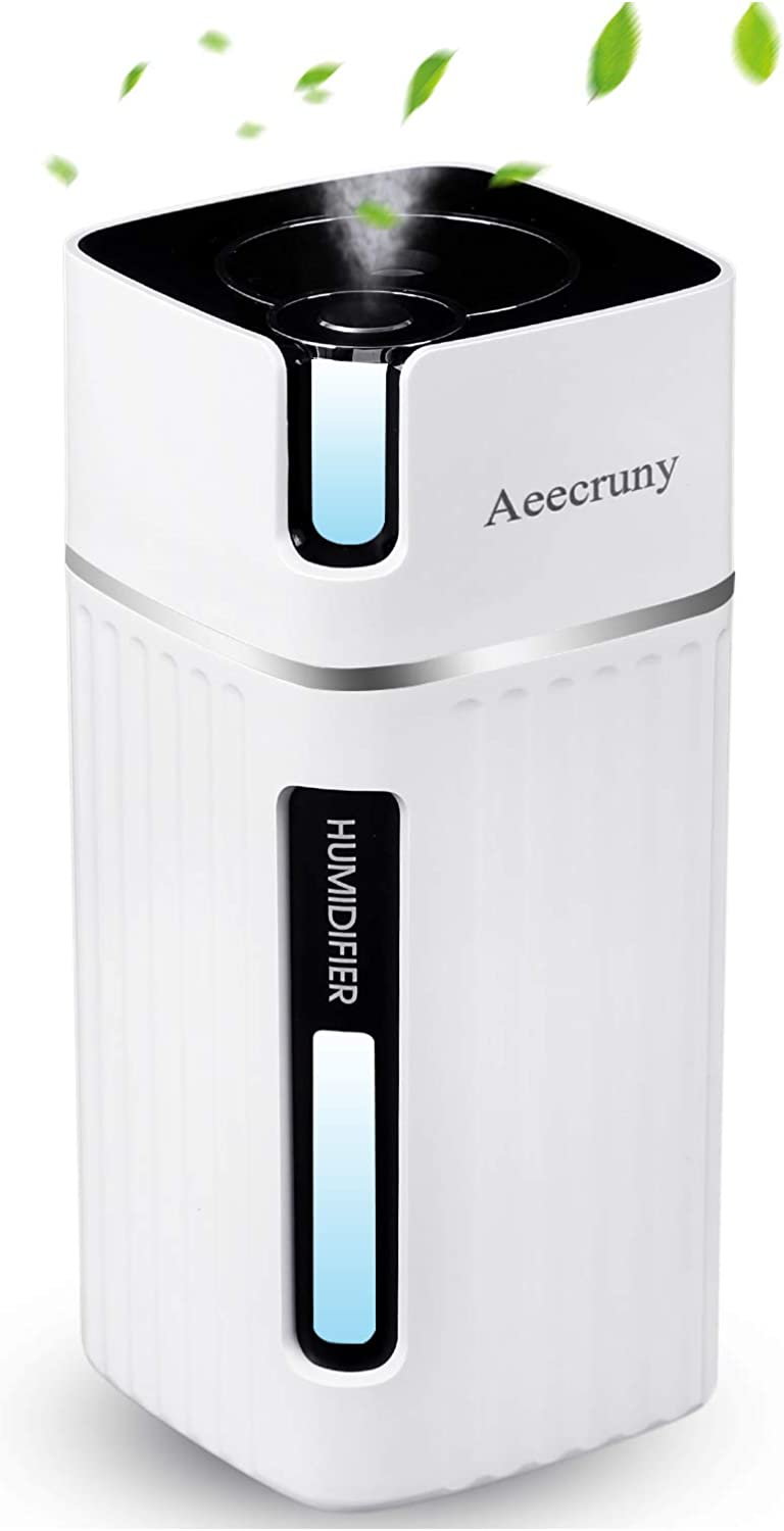 USB Personal Mini Humidifier - Aeecruny Portable Desktop Car Humidifier for Bedroom, Office, Home, Auto Shut-Off, 2 Mist Modes, Super Quiet (White)