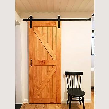 IKAYAA Herraje para Puerta de Corredera de Madera Instalación de Puerta: Amazon.es: Hogar