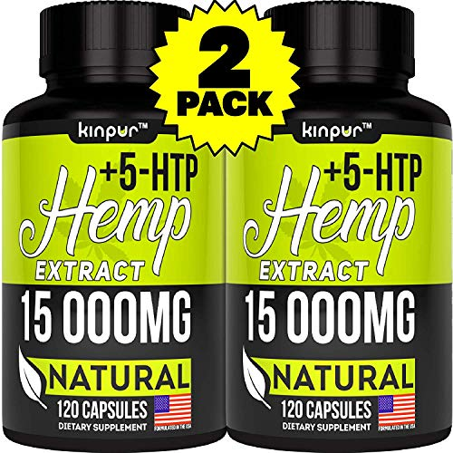 2 Pack - Hemp Oil Capsules with 5HTP Serotonin Conversion - 15000 MG of Pure Hemp Extract - Pain