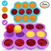 Silicone Freezer Tray for Baby Food Storage 2 Pack- Reusable Baby Food Storage Containers - Vegetable & Fruit Purees and Breast Milk - BPA FREE & FDA Approved