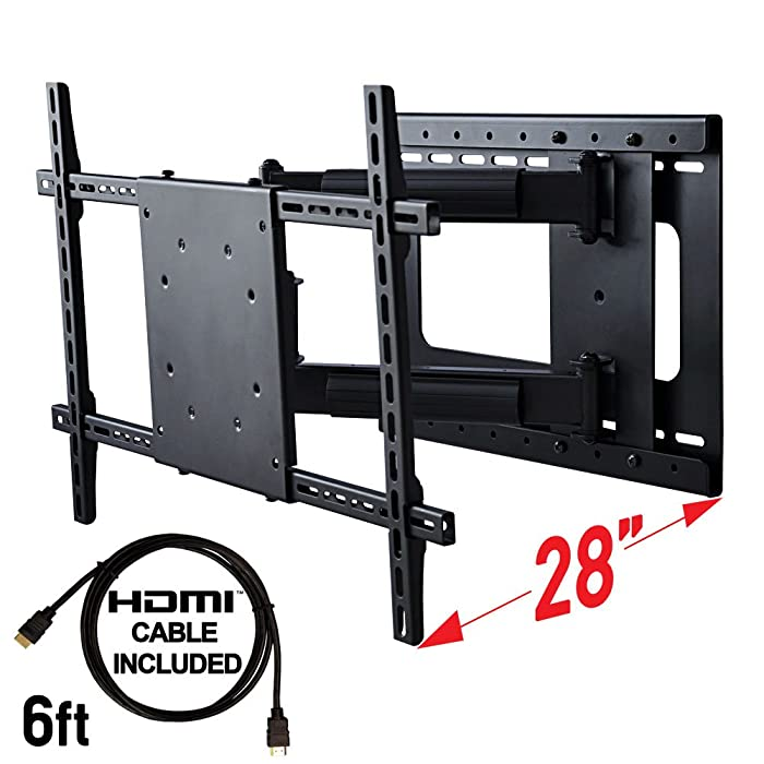 """Aeon Stands and Mounts 40200 full motion TV wall mount with 28"""" Extension (Black)"""