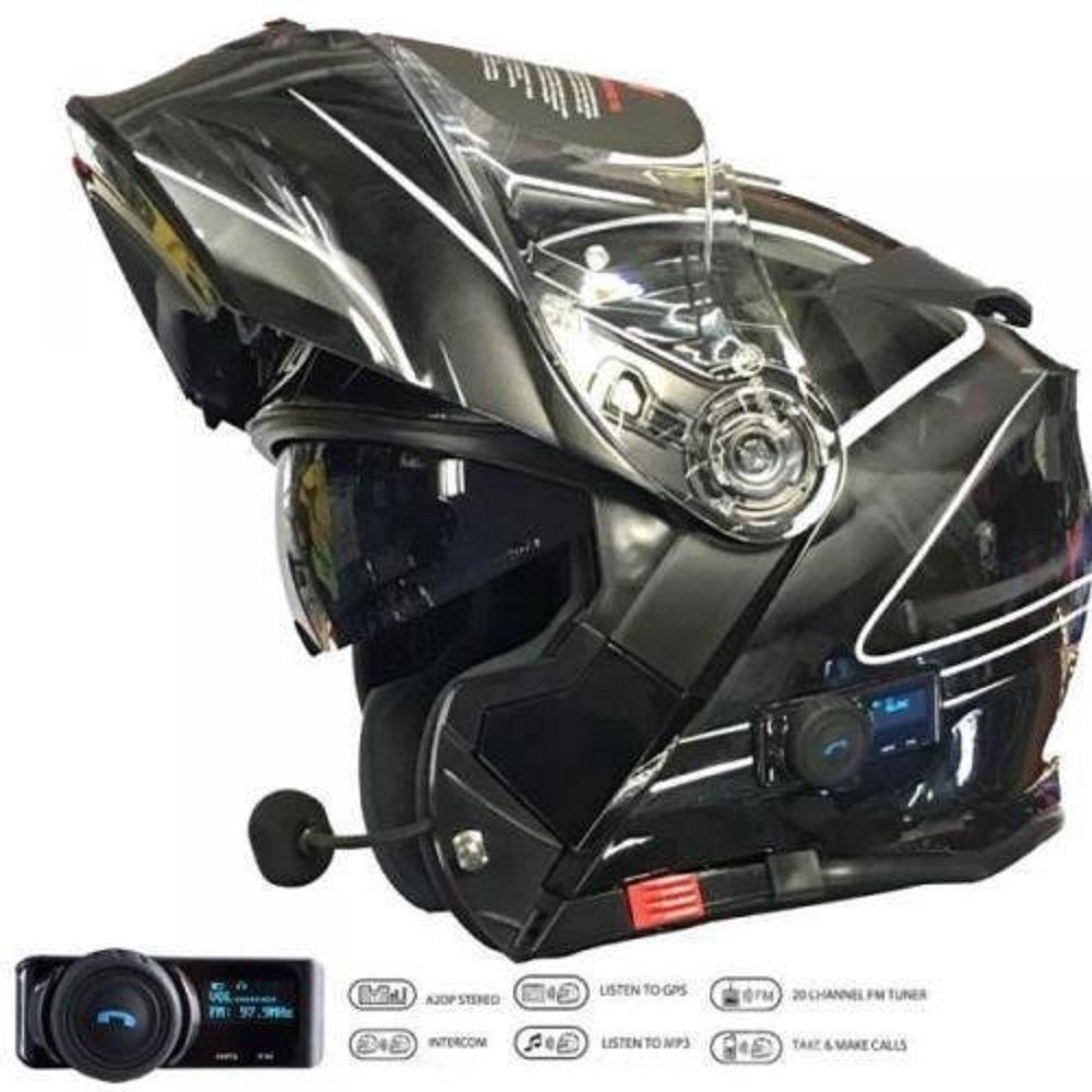 XL V271 LIGHTNING MOTORRADHELME BLUETOOTH VCAN BLINK BLUETOOTH MP3 SAT NAV KLAPPHELME SCHWARZ