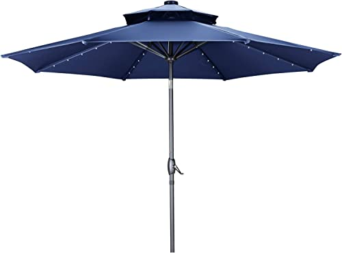 GDY 2 Tiers Vented 10 FT Solar 40 LED Lighted Patio Umbrella