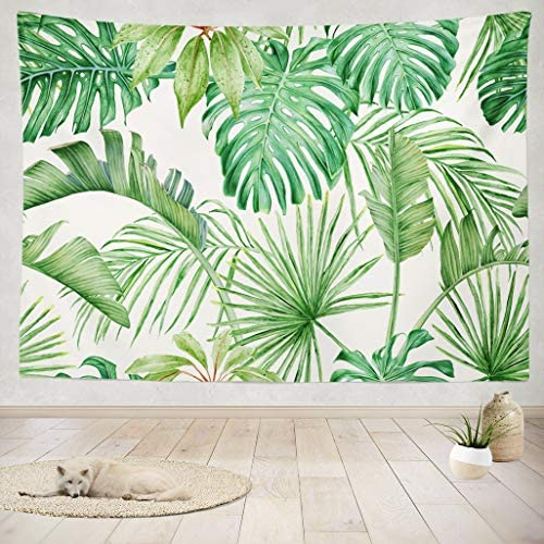 Asoco Tapestry Wall Handing Green Leaf Tropical Leaves Monster a Strelitzia Palms Watercolor Wall Tapestry for Bedroom Living Room Dorm 60X80 Inches