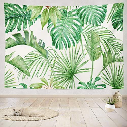 - ASOCO Tapestry Wall Handing Green Leaf Tropical Leaves Monster a Strelitzia Palms Watercolor Wall Tapestry for Bedroom Living Room Dorm 60X80 Inches