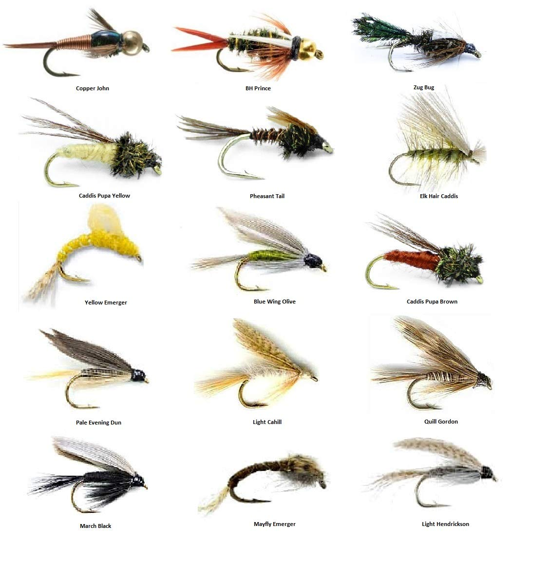 Fly Fishing Flies Assortment - Popular for Trout Fishing and Other Freshwater Fish - 30 Wet Flies - 15 Patterns Nymphs, Emergers, Bead Head Prince, Copper John, Mayflies, Caddis, and More (15)