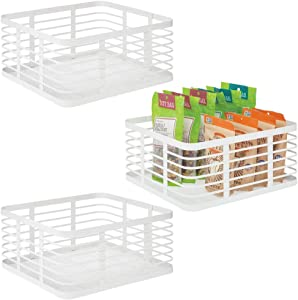 mDesign Farmhouse Decor Metal Wire Food Organizer Storage Bin Baskets for Kitchen Cabinets, Pantry, Bathroom, Laundry Room, Closets, Garage - 3 Pack - White