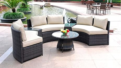 6 Piece Curved Outdoor Sofa 9 Feet Sectional Patio Furniture Set, Resin  Wicker Rattan 3