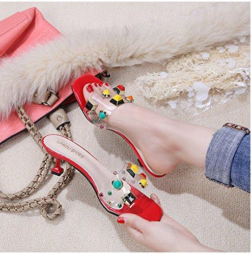 Trasparenti Scarpe Tacco Donna Cristallo Pantofole Scarpe Rosse con di Rosso IANGL Scarpe Scarpe Gatto con da e wpZq4vC