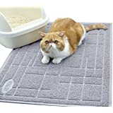 "Vivaglory Cat Litter Box Mat, BPA & Phthalate Free, Durable Kitty Litter Mat Litter Tracking, Large(35""×23"") Enough, Soft on Paws, Easy to Clean, Grey"