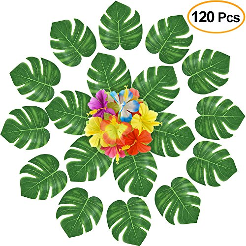 KUUQA 120 Pcs Artificial Tropical Leaves Flowers Decoration,Tropical Palm Plant Leaves and Hibiscus Flowers for Summer Hawaiian Jungle Beach Theme Birthday Luau Party Decorations Supplies