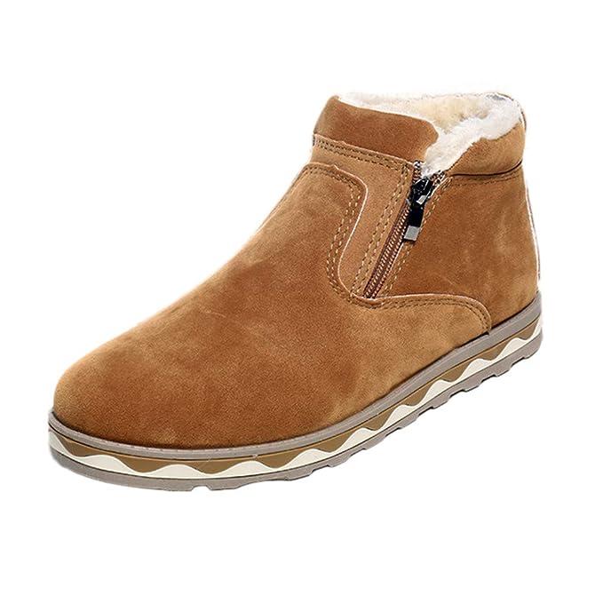 JiaMeng Zapatillas Hombre Zapatos Casuales de Hombres Botas cálidas de Invierno Zapatos Impermeables Antideslizantes Casuales Botas de Nieve de Felpa: ...