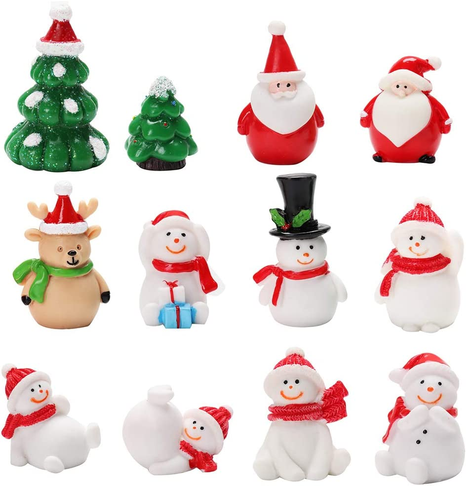 Outgeek Christmas Micro Landscape Ornament 12 PCS Miniature Ornament Resin Toys Cute Cartoon Mini Landscape Decor for Christmas