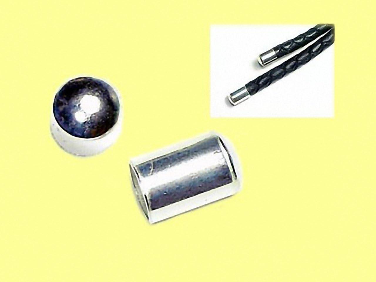 Magic and Arts Lederband Abschluss Kappen 4mm Silber 925