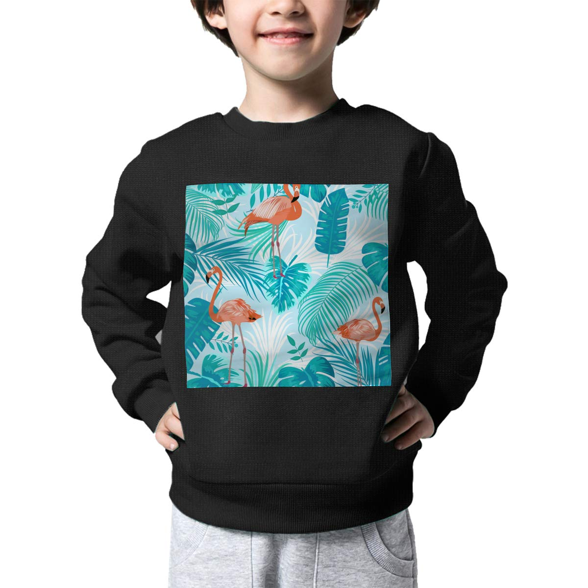 Flamingo and Tropical Leaves1 Pattern Printed Toddler Childrens Crew Neck Sweater Long Sleeve Soft Knitted Sweater Jumper