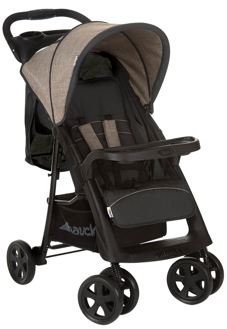 Hauck Shopper Neo II One Hand Fold 4 Wheel Pushchair with Raincover, from Birth to 22 Kg, Black/Red 149096