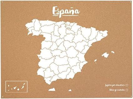 Miss Wood Mapa de España de Corcho, Pino, Blanco, XL-60x90cm: Amazon.es: Hogar