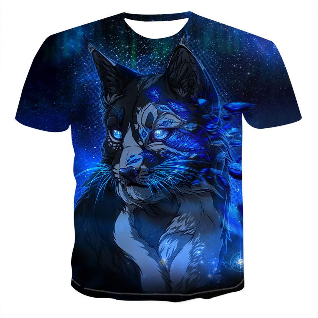 Animal Wolf T Shirt Cute Cat Grey 3D Printed T Shirts Men Women Short Sleeve A8 XXXL