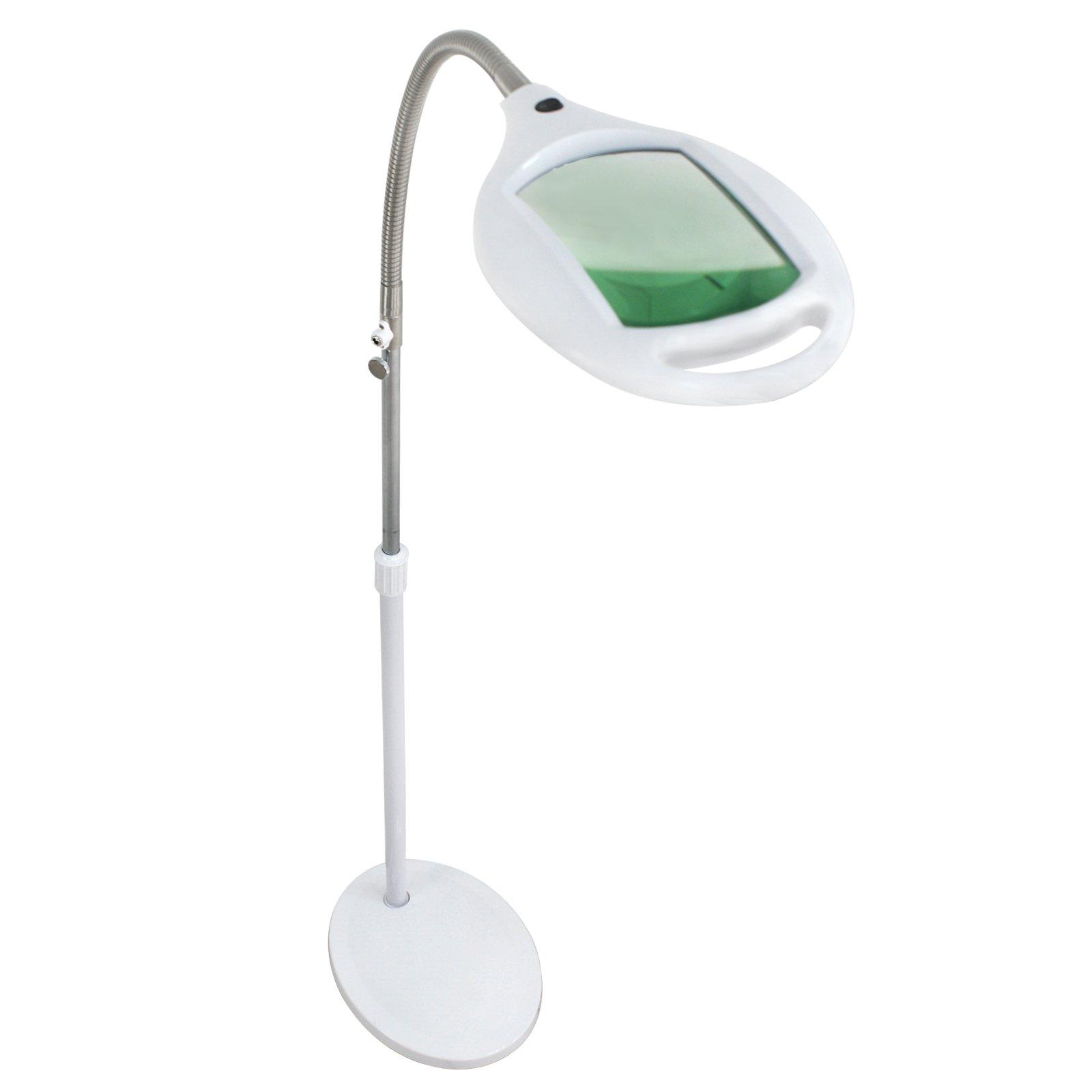 ZENY 42 LED Illuminated Magnifying Floor Lamp Light Super Bright Magnifier Lighted Glass Lens - Height Adjustable Gooseneck Energy-Saver - for Reading Task Craft Lighting